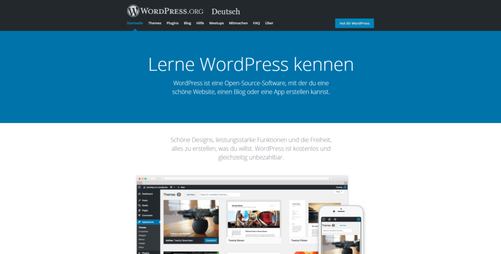 Screenshot vom CMS WordPress